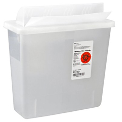MON70402820 - MedtronicSharpSafety™ In Room Sharps Container, Always Open Lid, Clear, 5 Quart