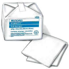MON70532000 - MedtronicCurity Ob Sponge 4in x 4in 2-Ply 100% Cotton