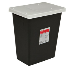 MON70862800 - MedtronicSharpSafety™ RCRA Hazardous Waste Container Hinged Lid, Black 8 Gallon