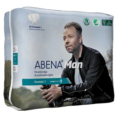 MON70963100 - Abena - Man Formula 1 Light Absorbency 11 Bladder Control Pads, 15/BG