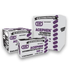 MON71922700 - G & W LabsAcephen Analgesic Acetaminophen 325 mg Rectal Suppository Blister Pack 12 Suppositories