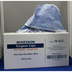 MON72321100 - McKessonSurgeon Cap One Size Fits Most Blue Ties