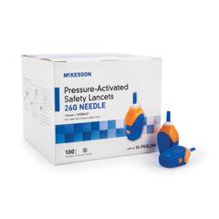 MON72572400 - McKesson - Safety Lancet McKesson Fixed Depth Lancet Needle 1.8 mm Depth 26 Gauge Pressure Activated, 100/BX