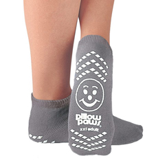 MON73461204 - PBESlipper Socks Pillow Paws Adult 2 X-Large Gray Ankle High