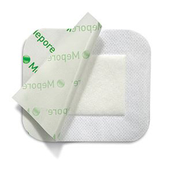 MON78052101 - Molnlycke Healthcare - Adhesive Dressing Mepore 2.4 x 2.8 Viscose Nonwoven Coated with a Polymer Layer Square White Sterile