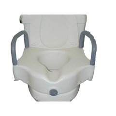 MON78463500 - McKessonRaised Toilet Seat with Armrests sunmark® 5 Inch White 250 lbs.