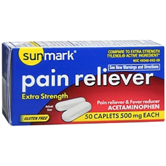 MON81252700 - McKessonPain Reliever sunmark® Caplets 500 mg, 50 per Bottle
