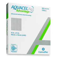 MON82762101 - Convatec - Silver Dressing Aquacel Ag Advantage 4 X 5 Inch Rectangle Sterile, 1/ EA