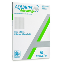 MON82772101 - Convatec - Silver Dressing Aquacel Ag Advantage 8 X 12 Inch Rectangle Sterile, 1/ EA