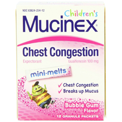 MON83072700 - Reckitt BenckiserCough Relief Childrens Mucinex Mini-Melts 100 mg / 5 mg Strength Granule 12 per Box