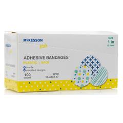 MON1110981BX - McKesson - Adhesive Spot Bandage Kids 1 Inch Plastic Round Kid Design (Assorted Print) Sterile, 100 EA/BX