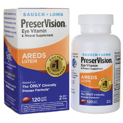 MON83382700 - Bausch & LombEye Vitamin with Lutein Supplement PreserVision 200 IU / 226 mg / 34.8 mg Strength Softgel 120 per Bottle