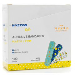 MON83872024 - McKesson - Adhesive Strip Kids 3/4 X 3 Inch Plastic Rectangle Kid Design (Assorted Print) Sterile, 100 EA/BX