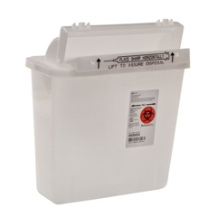 MON85062800 - Cardinal Health - SharpSafety™ Safety In Room Sharps Container Counterbalance Lid, Clear 5 Quart