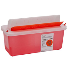 MON85132800 - MedtronicSharpSafety™ In Room Sharps Container, Mailbox, Transparent Red, 5 Quart