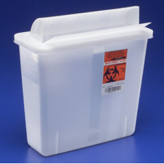 MON85312800 - Cardinal Health - SharpSafety™ In Room Sharps Container, Always Open Lid, Transparent Red, 5 Quart