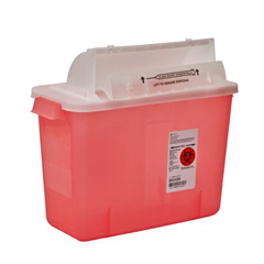 MON85342810 - MedtronicSharpSafety™ Safety In Room Sharps Container Counterbalance Lid, Transparent Red 2 Gallon