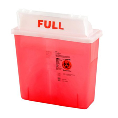 MON85372810 - MedtronicSharpSafety™ Safety In Room Sharps Container Counterbalance Lid, Transparent Red 3 Gallon