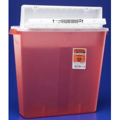 MON85412800 - MedtronicSharpSafety™ Safety In Room Sharps Container Counterbalance Lid, Transparent Red 4 Gallon