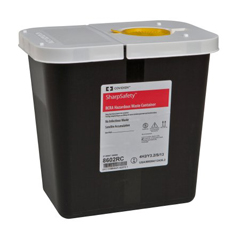 MON86022800 - MedtronicSharpSafety™ RCRA Hazardous Waste Container Hinged Lid with Snap Cap, Black 2 Gallon