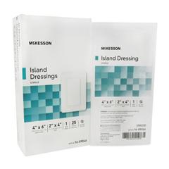 MON89042010 - McKesson - Adhesive Island Dressing 4 x 6 Polypropylene / Rayon Rectangle 2 x 4 Pad White Sterile