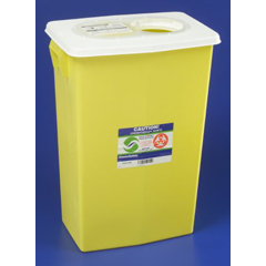 MON89392800 - MedtronicChemical Waste Receptacle Chemosafety™ 18 Gallon Yellow Base Sliding Lid