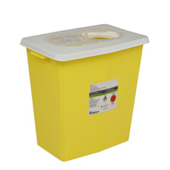 MON89582810 - MedtronicSharpSafety™ Chemotherapy Container Hinged Lid, Yellow 8 Gallon