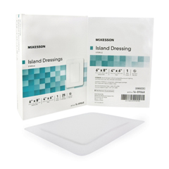 MON89682010 - McKesson - Adhesive Island Dressing 6 x 8 Polypropylene / Rayon Rectangle 4 x 6 Pad White Sterile