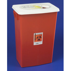 MON89892805 - MedtronicSharpSafety™ Sharps Container Gasketed Hinged Lid, Red 18 Gallon