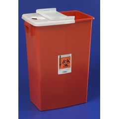 MON89912800 - MedtronicSharpSafety™ Sharps Container Hinged Lid, Red 18 Gallon