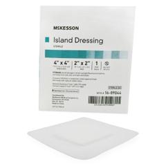 MON90442001 - McKesson - Adhesive Island Dressing 4 x 4 Polypropylene / Rayon Square 2 x 2 Pad White Sterile