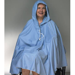 MON90911000 - Skil-CareShower Poncho with Hood Blue One Size Fits Most 23 X 34 Inch