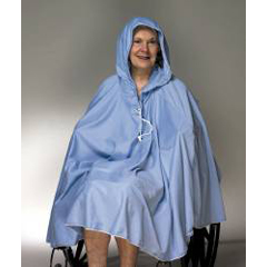 MON91203000 - Skil-CareShower Poncho Blue One Size Fits Most 23-1/2 Inch Back Front Opening