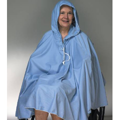 MON91503000 - Skil-CareShower Poncho with Hood Blue One Size Fits Most 23-1/2 Inch Back Front Opening