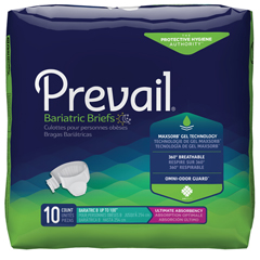 MON94443101 - First Quality - Prevail® Bariatric Brief, Heavy Absorbency, Up to 100 Waist, 10EA/PK