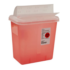 MON96712800 - MedtronicSharpSafety™ Sharps Container, Horizontal Drop, Transparent Red, 2 Gallon
