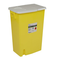 MON99892800 - MedtronicSharpSafety™ Chemotherapy Container, Hinged Lid, Yellow, 18 Gallon