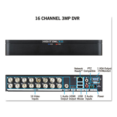 NGTDVRX316 - 16 Channel Extreme HD 3MP DVR, 1080p Resolution