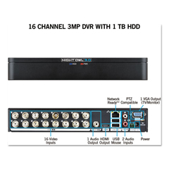 NGTDVRX3161 - 16 Channel Extreme HD 3MP DVR with 1 TB Hard Drive, 1080p Resolution