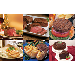 OMS40829 - Omaha SteaksFilet Mignons, Top Sirloins, Burgers, Boneless Chicken Breasts, Stuffed Baked Potatoes & Chocolate Lovers Cake