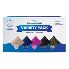 PTCWMN100026 - WeCare - Disposable Face Masks (Box of 50 Individually-Wrapped) - 5 Color Variety Pack
