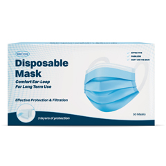 PTCWMN100040 - WeCare - Disposable Face Masks (Box of 50 Individually-Wrapped) COMFORT Earloops - Blue