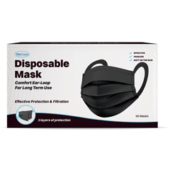 PTCWMN100041 - WeCare - Disposable Face Masks (Box of 50 Individually-Wrapped) COMFORT Earloops - Black
