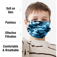 PTCWMN100042 - WeCare - Disposable Face Masks (Box of 50 Individually-Wrapped) - FOR KIDS - Camo Blue