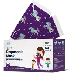 PTCWMN100043 - WeCare - Disposable Face Masks (Box of 50 Individually-Wrapped) - FOR KIDS - Unicorn