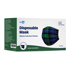PTCWMN100048 - WeCare - Disposable Face Masks (Box of 50 Individually-Wrapped) - Green Plaid