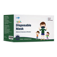 PTCWMN100049 - WeCare - Disposable Face Masks (Box of 50 Individually-Wrapped) - FOR KIDS - Green Plaid