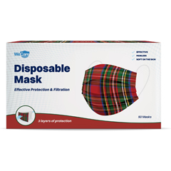 PTCWMN100050 - WeCare - Disposable Face Masks (Box of 50 Individually-Wrapped) - Red Plaid