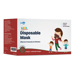 PTCWMN100051 - WeCare - Disposable Face Masks (Box of 50 Individually-Wrapped) - FOR KIDS - Red Plaid