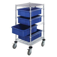 QNTBC212434M1-BL-EA - Quantum Storage SystemsBin Cart with Dividable Grid Containers